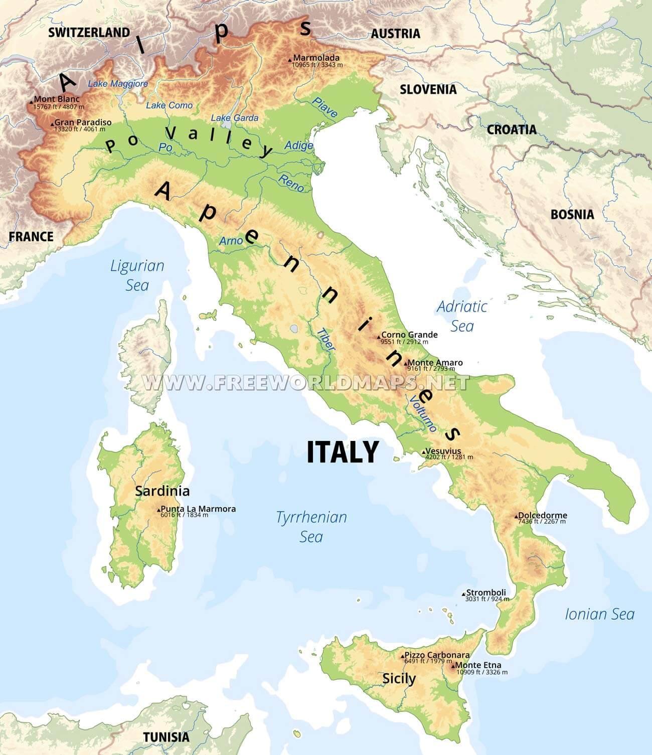 italija karta Fizička karta Italije   Italija značajke fizičke kartici (Južna  italija karta