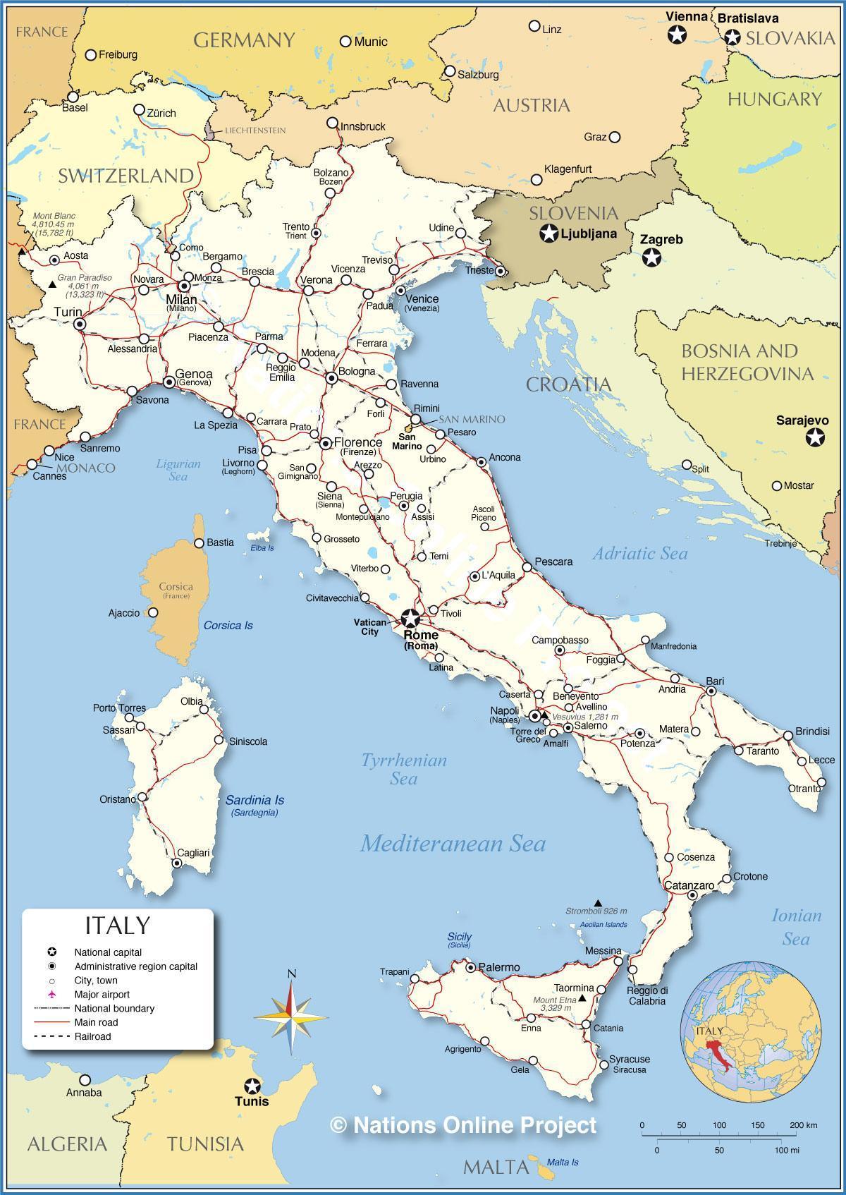 Italija Brod Karta Italije Brodom Juzna Europa Europa