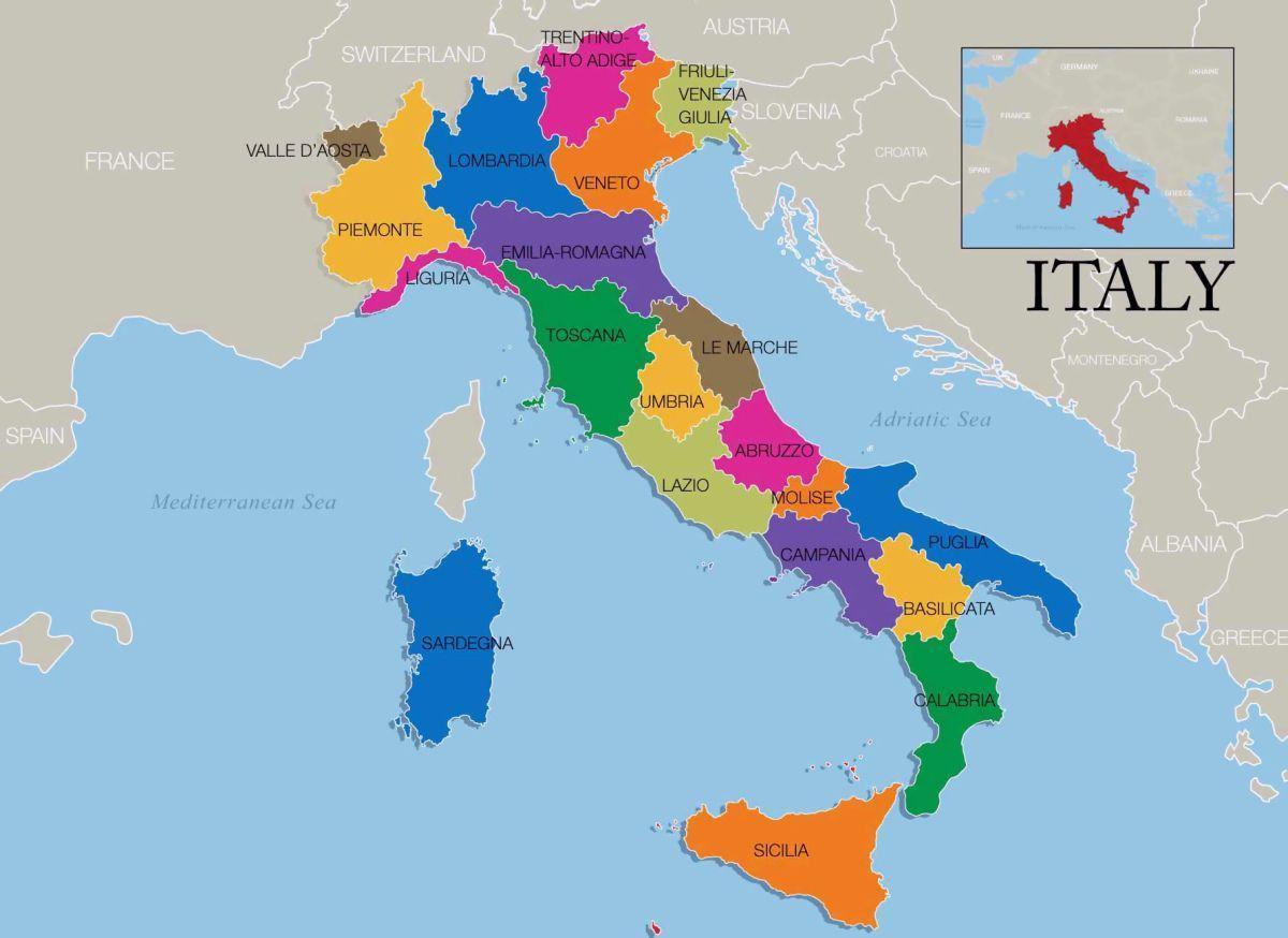 Italija Karta Podrucja Karta Italije I Regije Juzna Europa