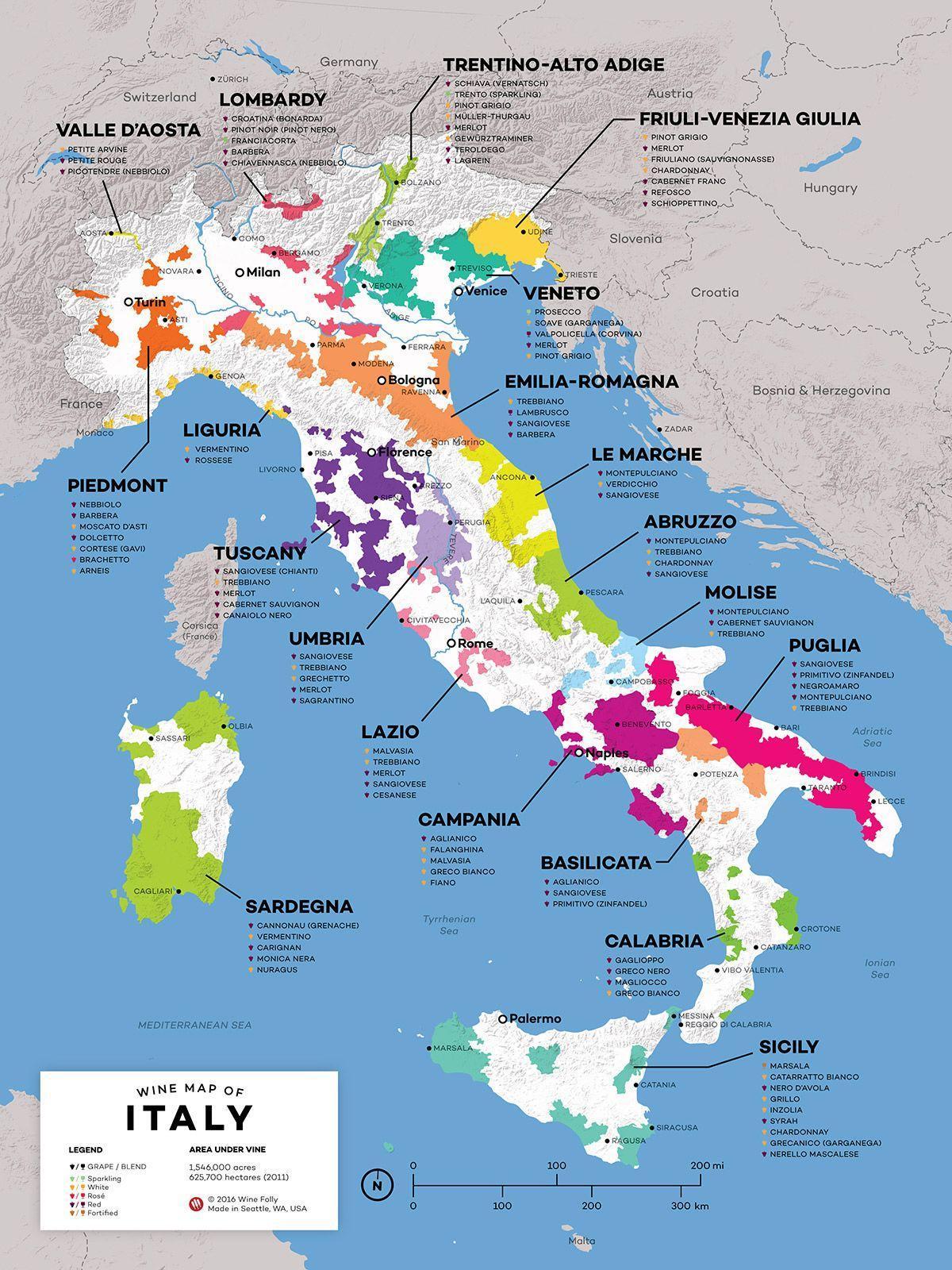 Vino Italija Karta Regije Italije Vinskoj Karti Juzna Europa